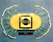 The first silicon strip detector, designed by R. Klanner in 1984, to find charmed hadrons and measure their lifetime with the NA32 experiment at CERN